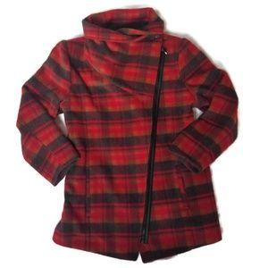 Steve Madden Red Plaid Asymmetric Coat